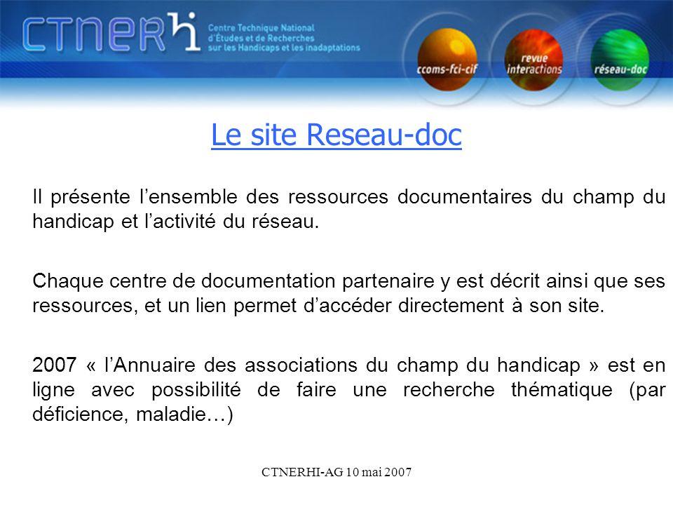 CTNERHI-AG 10 mai 2007 Le site du réseau doc Le site Reseau-doc Il présente lensemble des ressources documentaires du champ du handicap et lactivité d