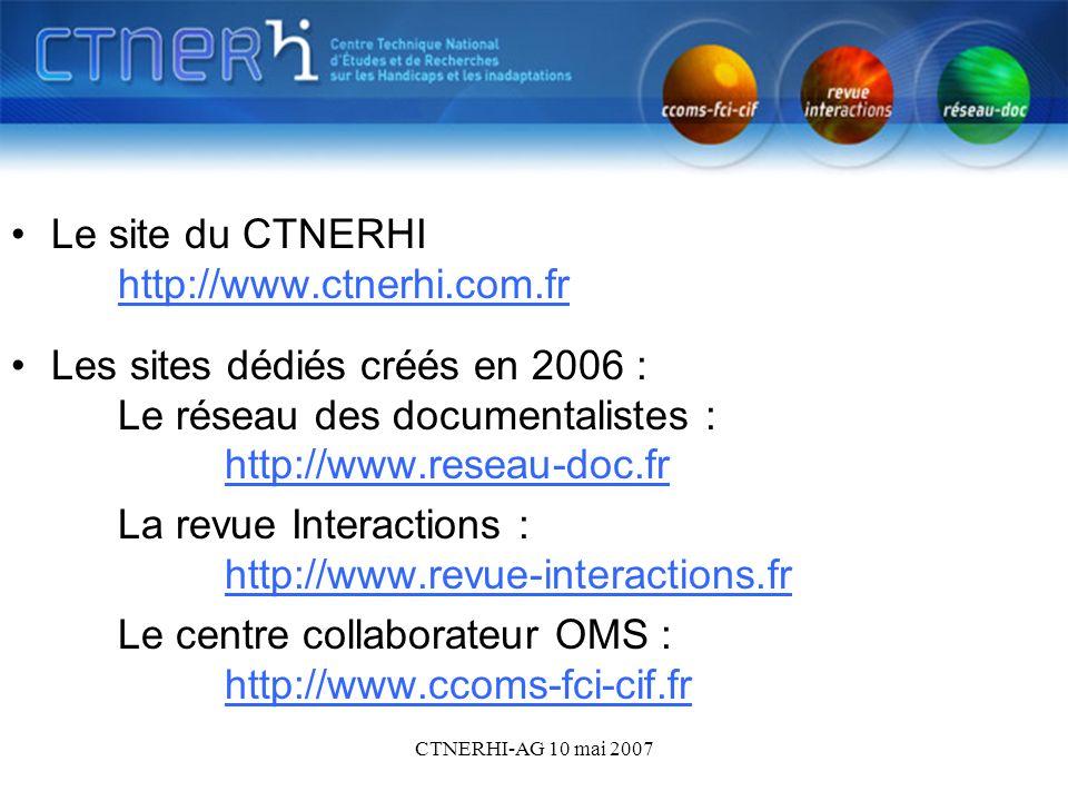 CTNERHI-AG 10 mai 2007 Les sites - sommaire Le site du CTNERHI http://www.ctnerhi.com.fr http://www.ctnerhi.com.fr Les sites dédiés créés en 2006 : Le réseau des documentalistes : http://www.reseau-doc.fr http://www.reseau-doc.fr La revue Interactions : http://www.revue-interactions.fr http://www.revue-interactions.fr Le centre collaborateur OMS : http://www.ccoms-fci-cif.fr http://www.ccoms-fci-cif.fr