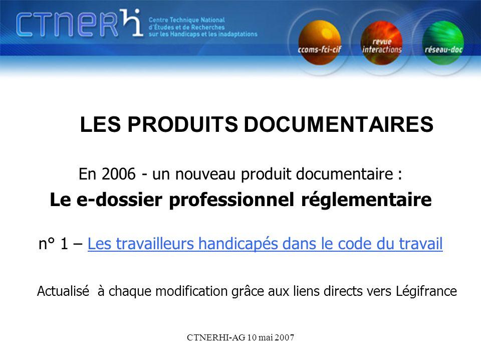 CTNERHI-AG 10 mai 2007 Les produits documentaires électroniques LES PRODUITS DOCUMENTAIRES En 2006 - un nouveau produit documentaire : Le e-dossier pr