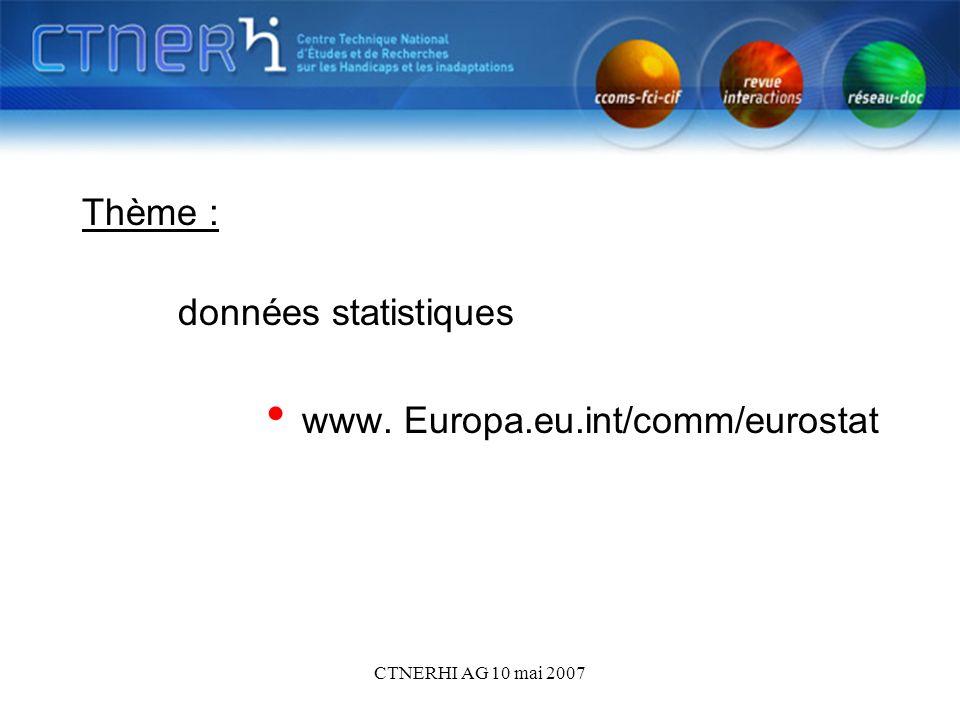 CTNERHI AG 10 mai 2007 Thème : données statistiques www. Europa.eu.int/comm/eurostat