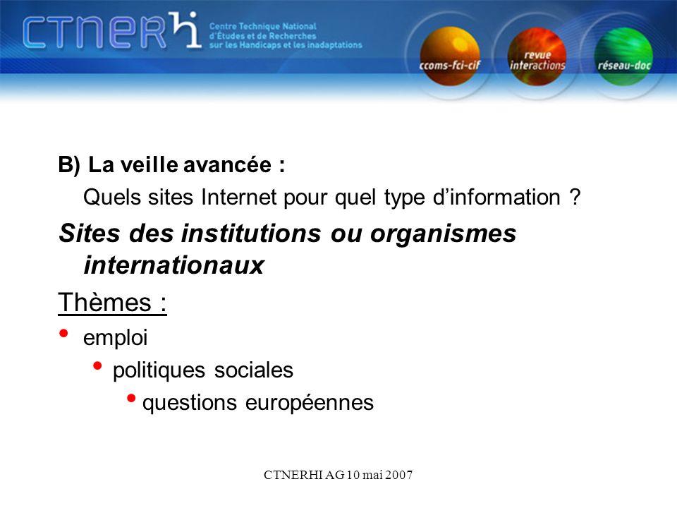 CTNERHI AG 10 mai 2007 B) La veille avancée : Quels sites Internet pour quel type dinformation .