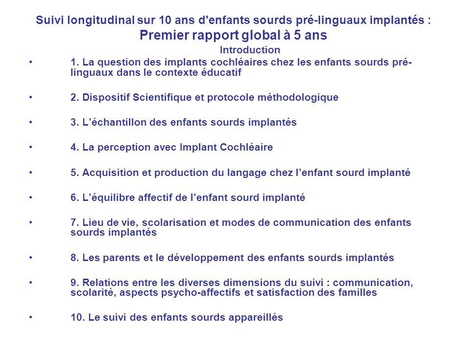 Suivi longitudinal sur 10 ans d'enfants sourds pré-linguaux implantés : Premier rapport global à 5 ans Introduction 1. La question des implants cochlé