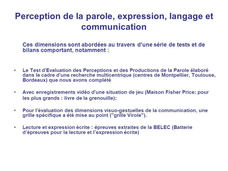 Perception de la parole, expression, langage et communication Ces dimensions sont abordées au travers d'une série de tests et de bilans comportant, no