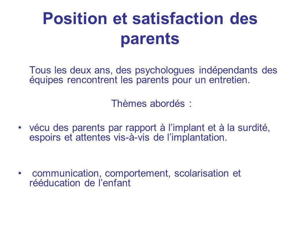 Position et satisfaction des parents Tous les deux ans, des psychologues indépendants des équipes rencontrent les parents pour un entretien. Thèmes ab