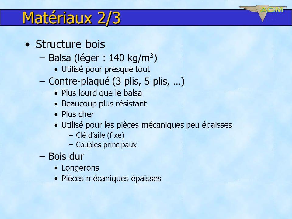 Matériaux 2/3 Structure bois –Balsa (léger : 140 kg/m 3 ) Utilisé pour presque tout –Contre-plaqué (3 plis, 5 plis, …) Plus lourd que le balsa Beaucou