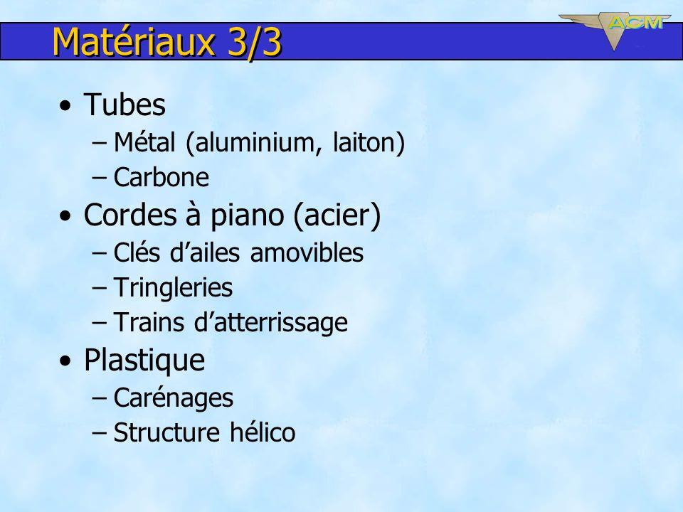 Matériaux 3/3 Tubes –Métal (aluminium, laiton) –Carbone Cordes à piano (acier) –Clés dailes amovibles –Tringleries –Trains datterrissage Plastique –Ca