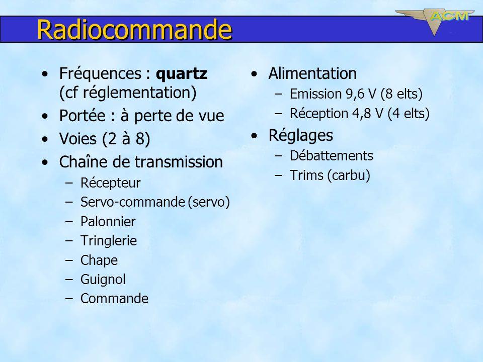 Radiocommande Fréquences : quartz (cf réglementation) Portée : à perte de vue Voies (2 à 8) Chaîne de transmission –Récepteur –Servo-commande (servo)