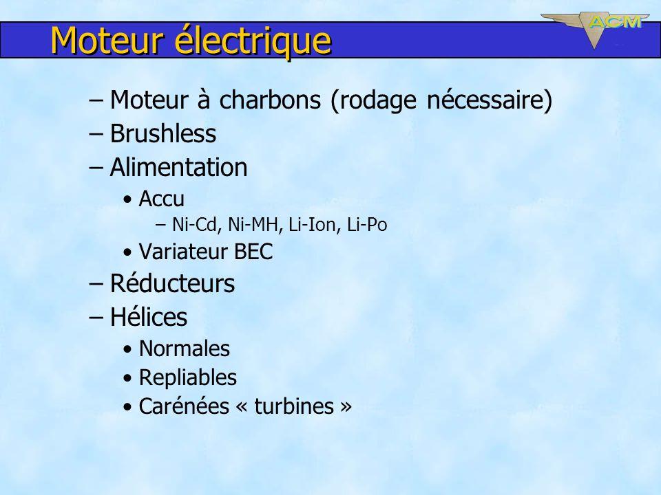 Moteur électrique –Moteur à charbons (rodage nécessaire) –Brushless –Alimentation Accu –Ni-Cd, Ni-MH, Li-Ion, Li-Po Variateur BEC –Réducteurs –Hélices