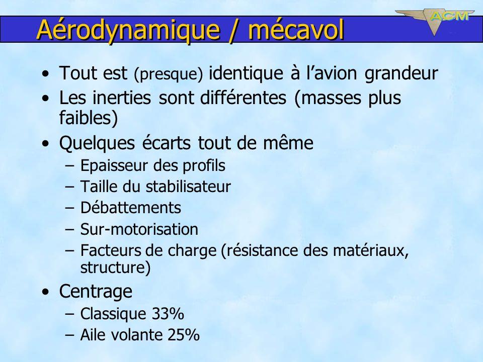 Aérodynamique / mécavol Tout est (presque) identique à lavion grandeur Les inerties sont différentes (masses plus faibles) Quelques écarts tout de mêm