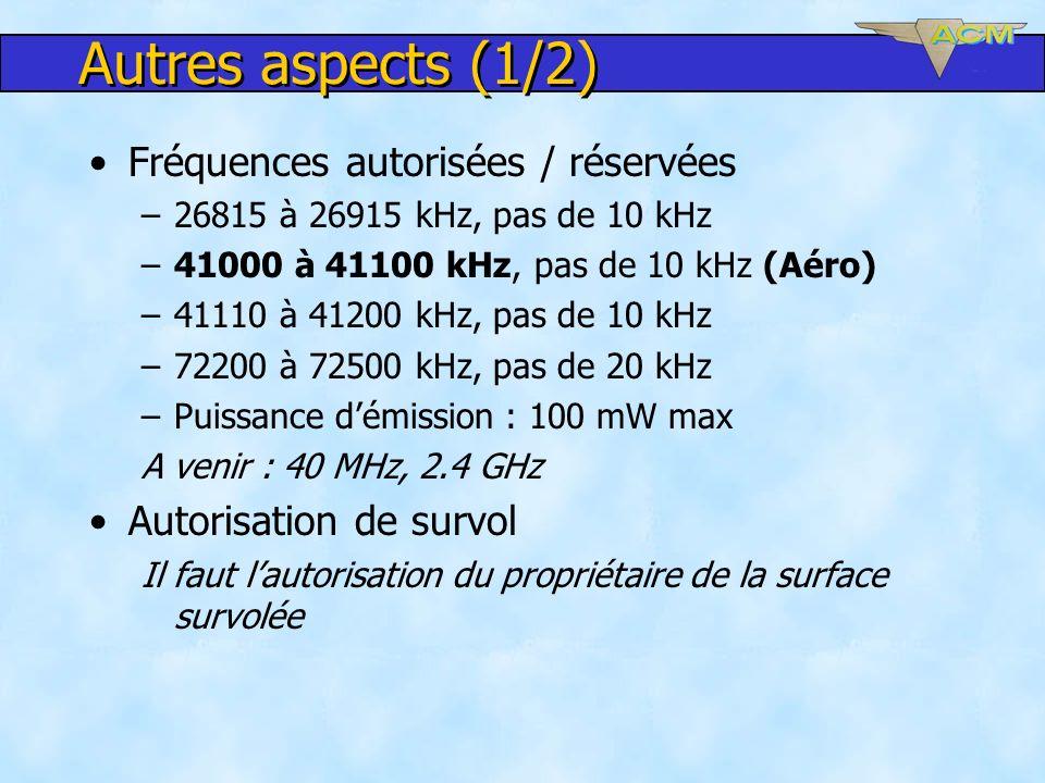 Autres aspects (1/2) Fréquences autorisées / réservées –26815 à 26915 kHz, pas de 10 kHz –41000 à 41100 kHz, pas de 10 kHz (Aéro) –41110 à 41200 kHz,