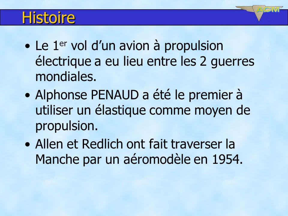 Histoire Le 1 er vol dun avion à propulsion électrique a eu lieu entre les 2 guerres mondiales. Alphonse PENAUD a été le premier à utiliser un élastiq