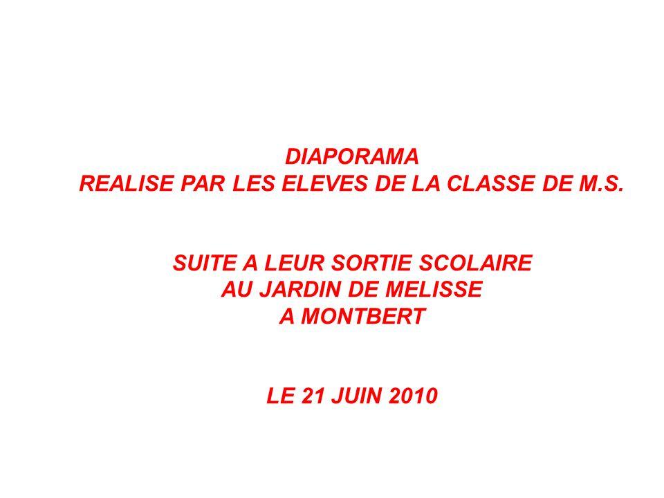 DIAPORAMA REALISE PAR LES ELEVES DE LA CLASSE DE M.S. SUITE A LEUR SORTIE SCOLAIRE AU JARDIN DE MELISSE A MONTBERT LE 21 JUIN 2010