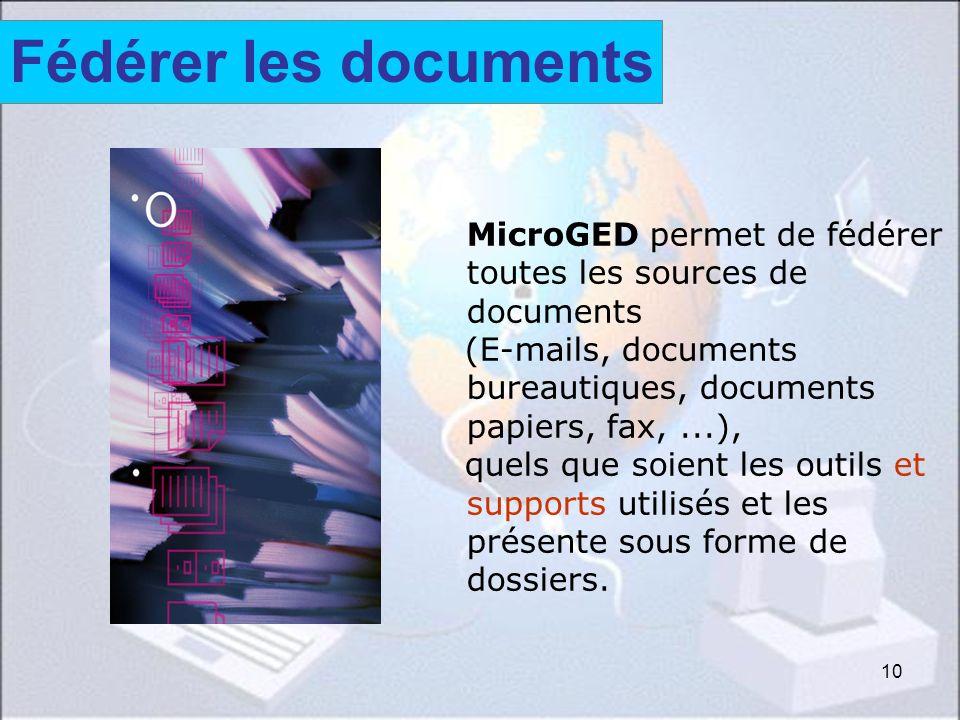 10 MicroGED permet de fédérer toutes les sources de documents (E-mails, documents bureautiques, documents papiers, fax,...), quels que soient les outi