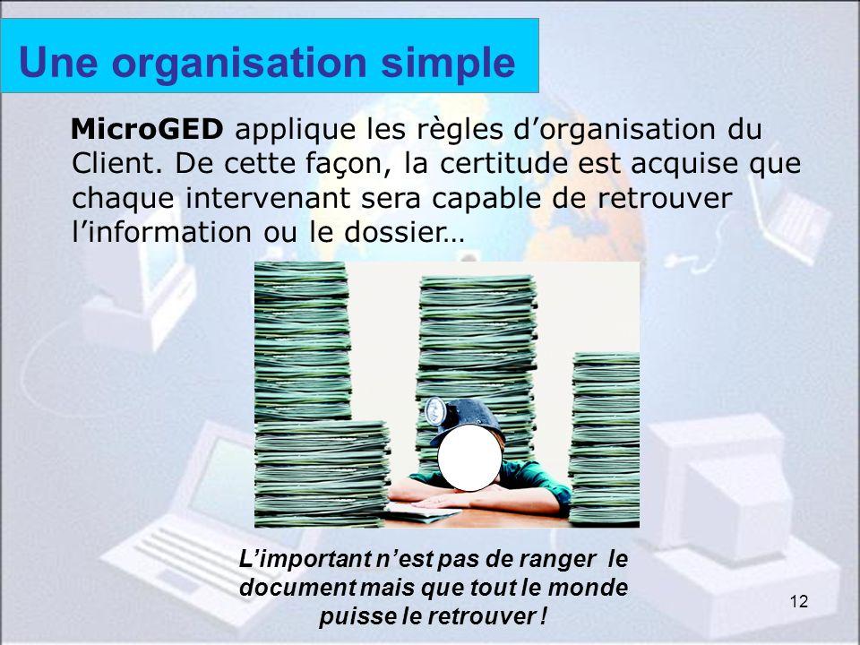 12 MicroGED applique les règles dorganisation du Client. De cette façon, la certitude est acquise que chaque intervenant sera capable de retrouver lin
