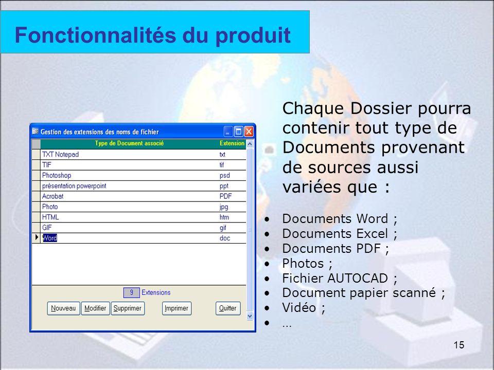 15 Fonctionnalités du produit Chaque Dossier pourra contenir tout type de Documents provenant de sources aussi variées que : Documents Word ; Document