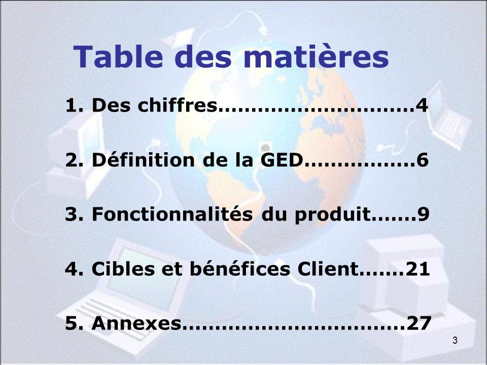 3 Table des matières 1. Des chiffres…………………………4 2. Définition de la GED……………..6 3. Fonctionnalités du produit…….9 4. Cibles et bénéfices Client….…21 5