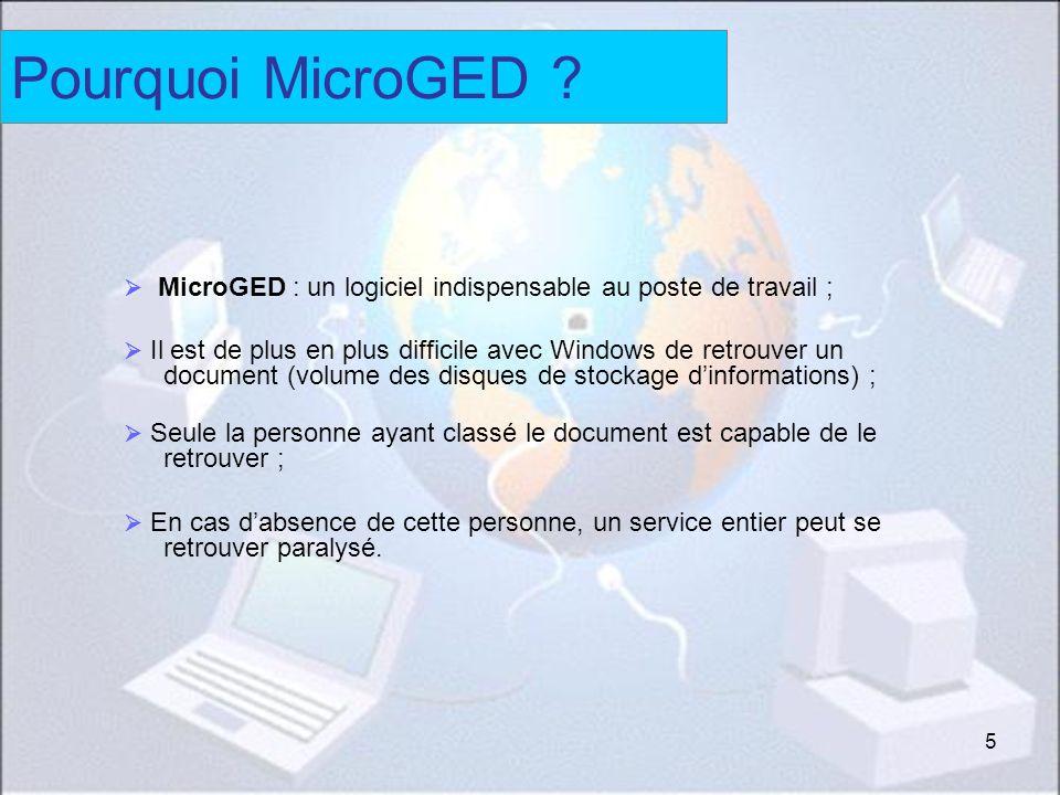 5 Pourquoi MicroGED ? MicroGED : un logiciel indispensable au poste de travail ; Il est de plus en plus difficile avec Windows de retrouver un documen
