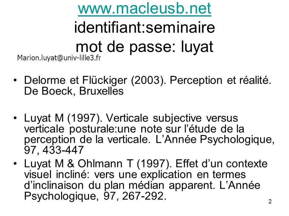 2 www.macleusb.net www.macleusb.net identifiant:seminaire mot de passe: luyat Delorme et Flückiger (2003). Perception et réalité. De Boeck, Bruxelles