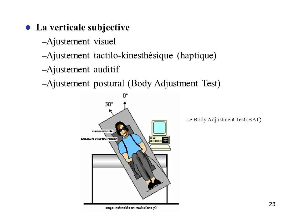 23 La verticale subjective – Ajustement visuel – Ajustement tactilo-kinesthésique (haptique) – Ajustement auditif – Ajustement postural (Body Adjustme