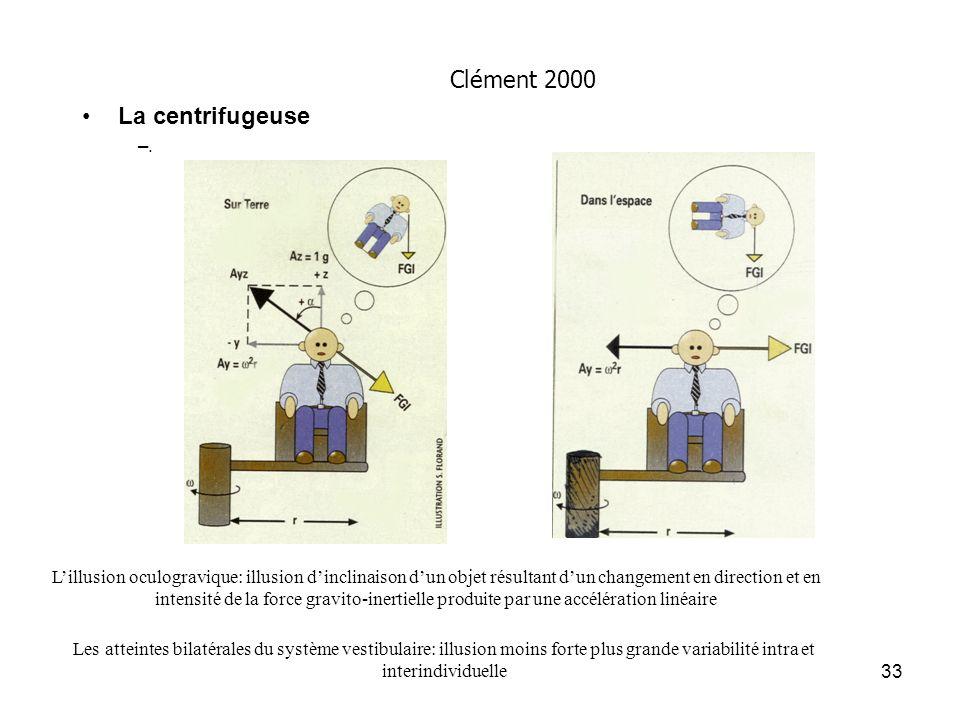 33 La centrifugeuse –. Lillusion oculogravique: illusion dinclinaison dun objet résultant dun changement en direction et en intensité de la force grav