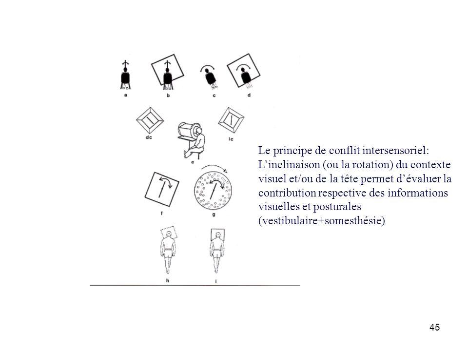 45 Le principe de conflit intersensoriel: Linclinaison (ou la rotation) du contexte visuel et/ou de la tête permet dévaluer la contribution respective