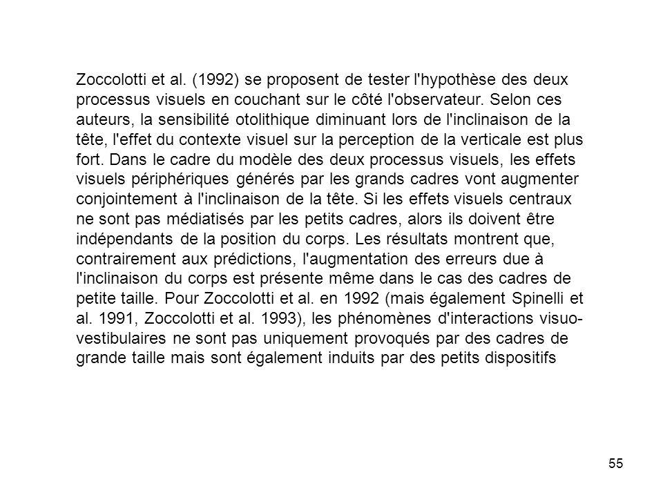 55 Zoccolotti et al. (1992) se proposent de tester l'hypothèse des deux processus visuels en couchant sur le côté l'observateur. Selon ces auteurs, la