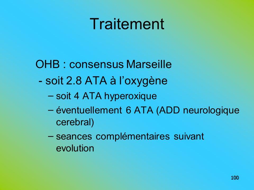 Traitement OHB : consensus Marseille - soit 2.8 ATA à loxygène – soit 4 ATA hyperoxique – éventuellement 6 ATA (ADD neurologique cerebral) – seances c