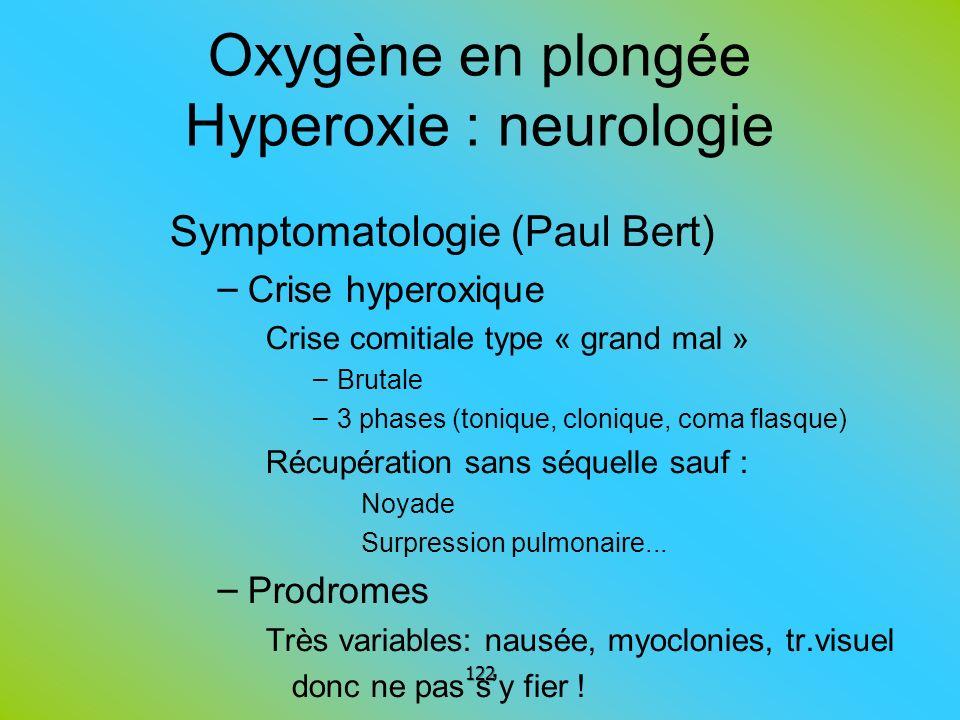 Oxygène en plongée Hyperoxie : neurologie Symptomatologie (Paul Bert) – Crise hyperoxique Crise comitiale type « grand mal » – Brutale – 3 phases (ton