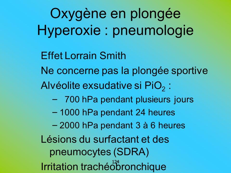 Oxygène en plongée Hyperoxie : pneumologie Effet Lorrain Smith Ne concerne pas la plongée sportive Alvéolite exsudative si PiO 2 : – 700 hPa pendant p