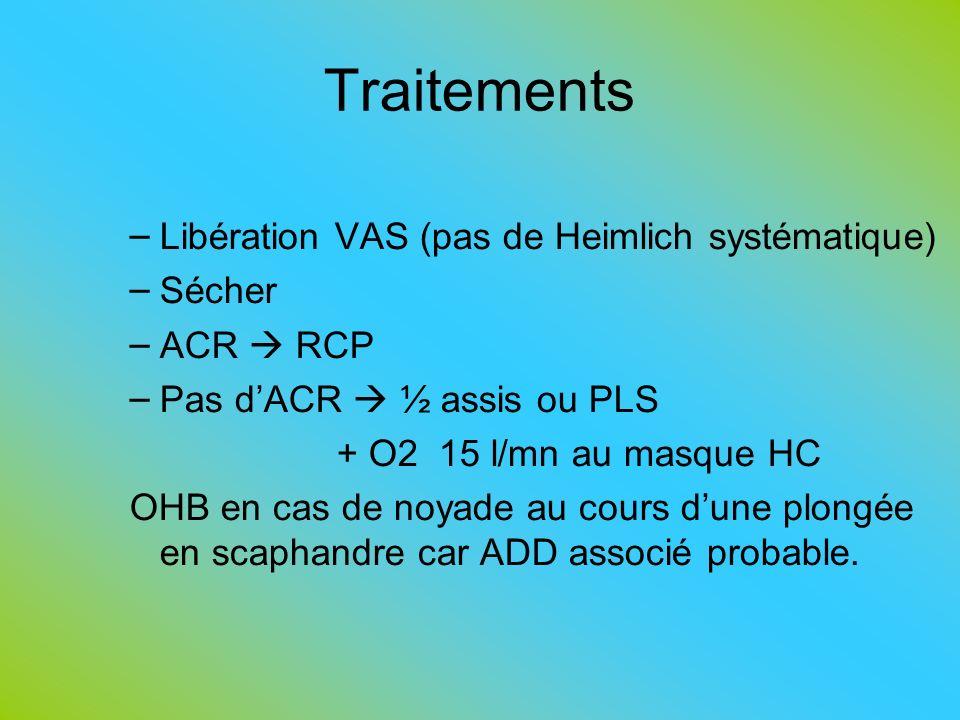Traitements – Libération VAS (pas de Heimlich systématique) – Sécher – ACR RCP – Pas dACR ½ assis ou PLS + O2 15 l/mn au masque HC OHB en cas de noyad