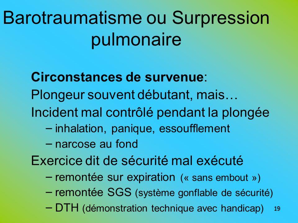 Barotraumatisme ou Surpression pulmonaire Circonstances de survenue: Plongeur souvent débutant, mais… Incident mal contrôlé pendant la plongée – inhal