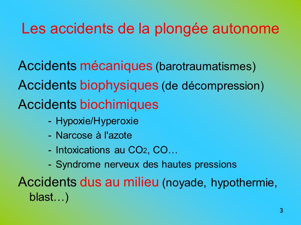 Intoxication par le gaz carbonique Intoxication par lazote Intoxication par loxygène et hypoxie Intoxication par le monoxyde de carbone 104