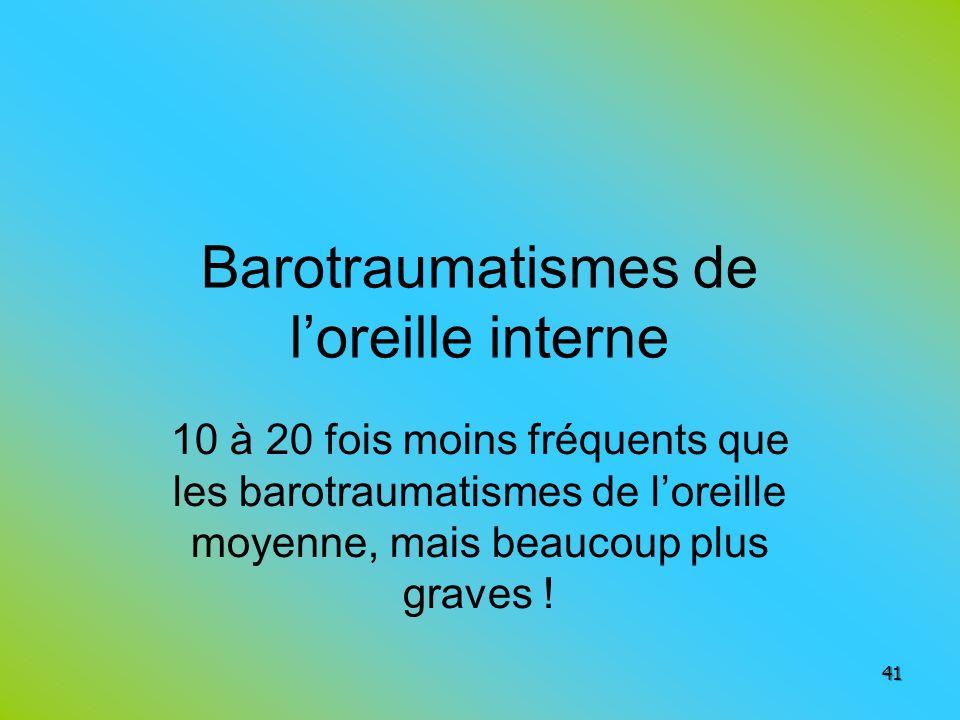 Barotraumatismes de loreille interne 10 à 20 fois moins fréquents que les barotraumatismes de loreille moyenne, mais beaucoup plus graves ! 41