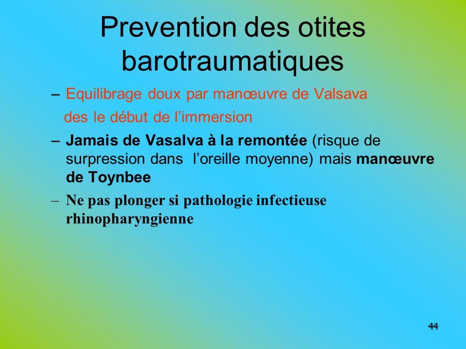 Prevention des otites barotraumatiques –Equilibrage doux par manœuvre de Valsava des le début de limmersion –Jamais de Vasalva à la remontée (risque d