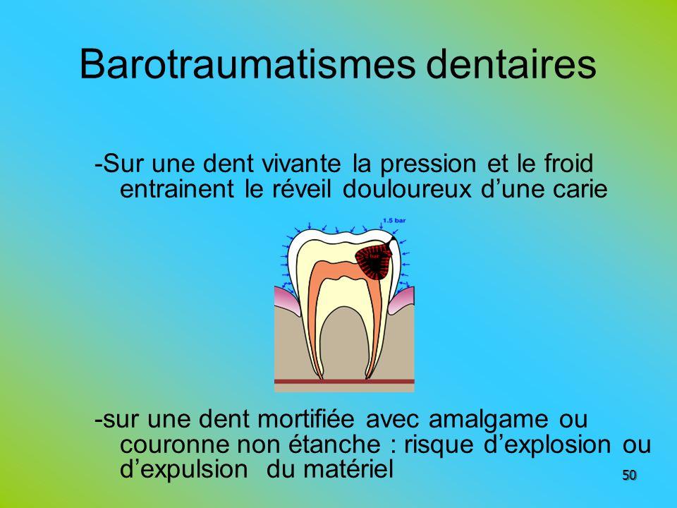 Barotraumatismes dentaires -Sur une dent vivante la pression et le froid entrainent le réveil douloureux dune carie -sur une dent mortifiée avec amalg