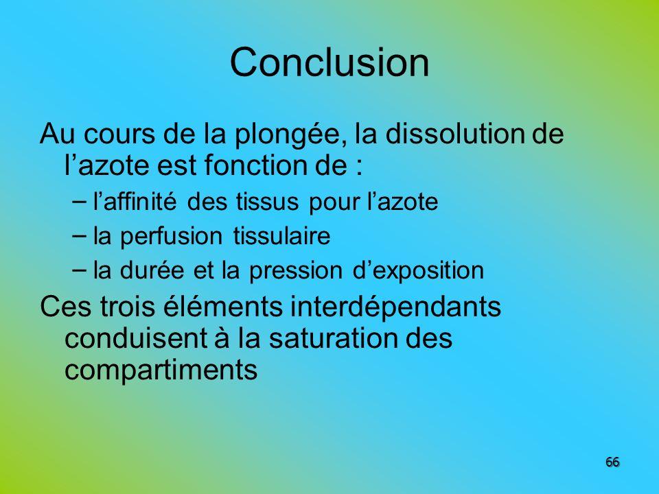 Conclusion Au cours de la plongée, la dissolution de lazote est fonction de : – laffinité des tissus pour lazote – la perfusion tissulaire – la durée