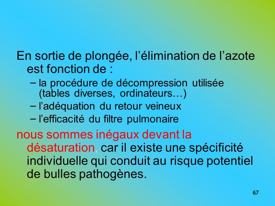 En sortie de plongée, lélimination de lazote est fonction de : – la procédure de décompression utilisée (tables diverses, ordinateurs…) – ladéquation