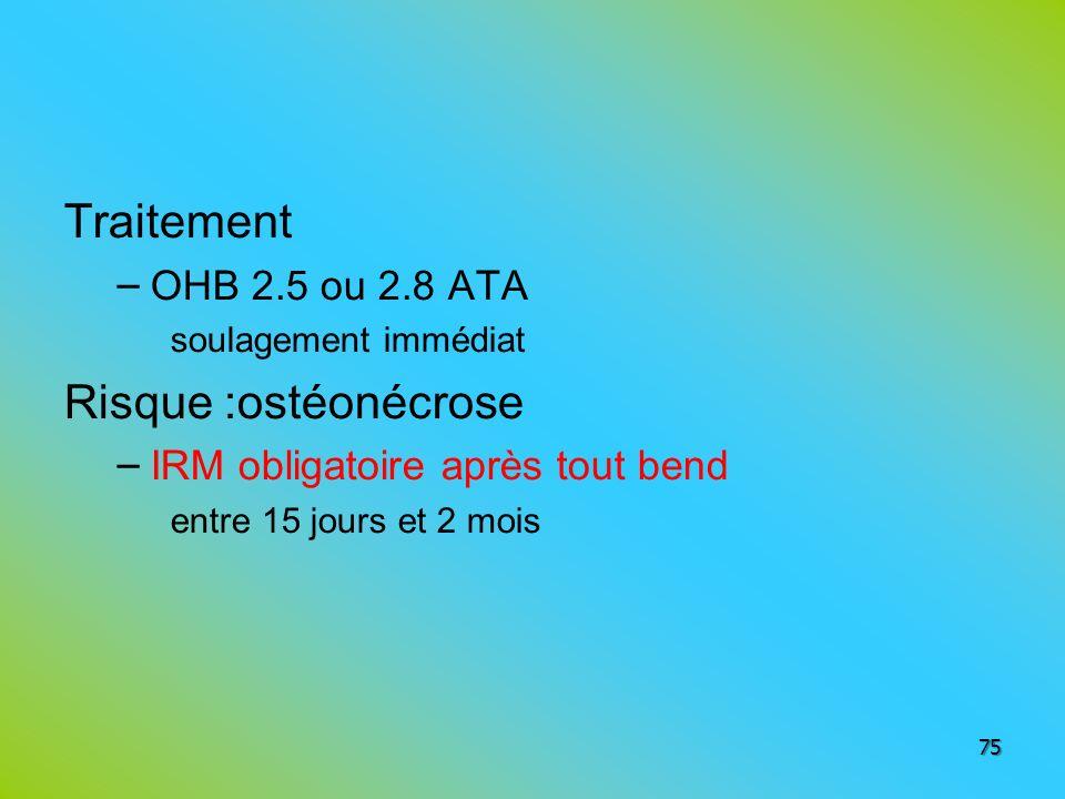 Traitement – OHB 2.5 ou 2.8 ATA soulagement immédiat Risque :ostéonécrose – IRM obligatoire après tout bend entre 15 jours et 2 mois 75