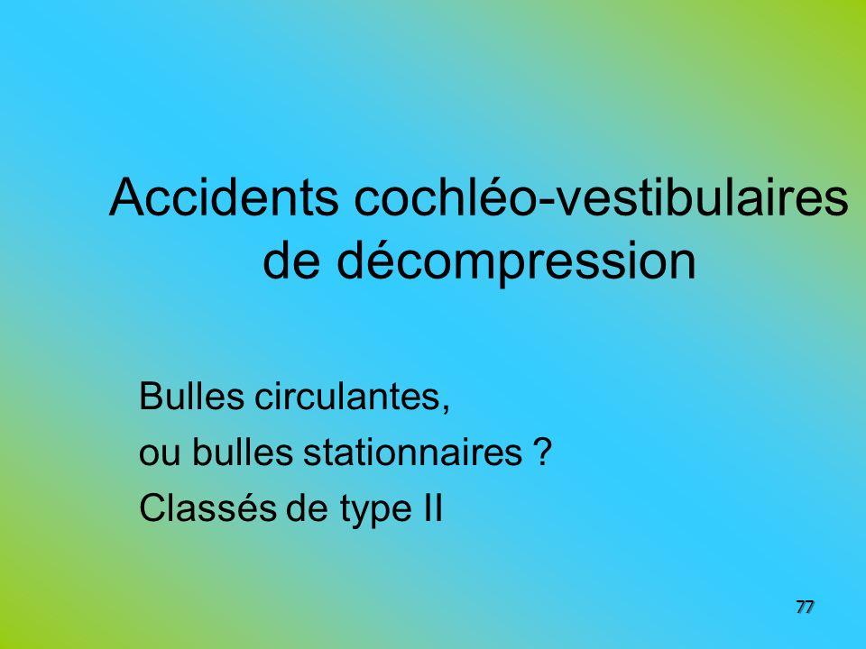 Accidents cochléo-vestibulaires de décompression Bulles circulantes, ou bulles stationnaires ? Classés de type II 77