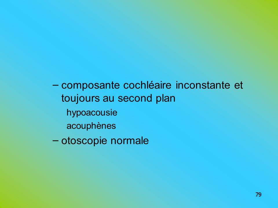 – composante cochléaire inconstante et toujours au second plan hypoacousie acouphènes – otoscopie normale 79