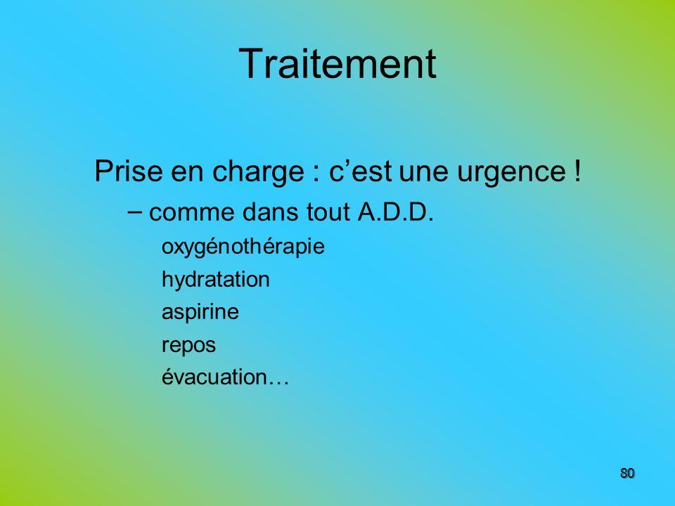 Traitement Prise en charge : cest une urgence ! – comme dans tout A.D.D. oxygénothérapie hydratation aspirine repos évacuation… 80