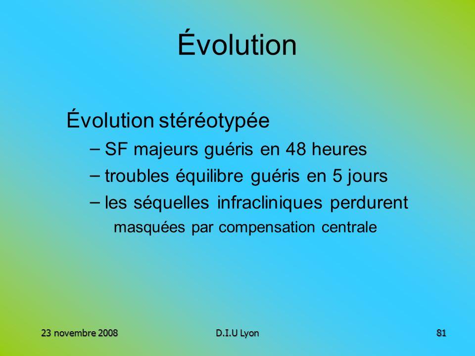 Évolution Évolution stéréotypée – SF majeurs guéris en 48 heures – troubles équilibre guéris en 5 jours – les séquelles infracliniques perdurent masqu