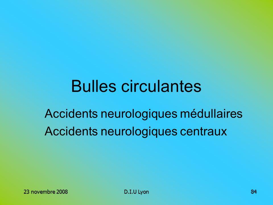 Bulles circulantes Accidents neurologiques médullaires Accidents neurologiques centraux 23 novembre 2008D.I.U Lyon84