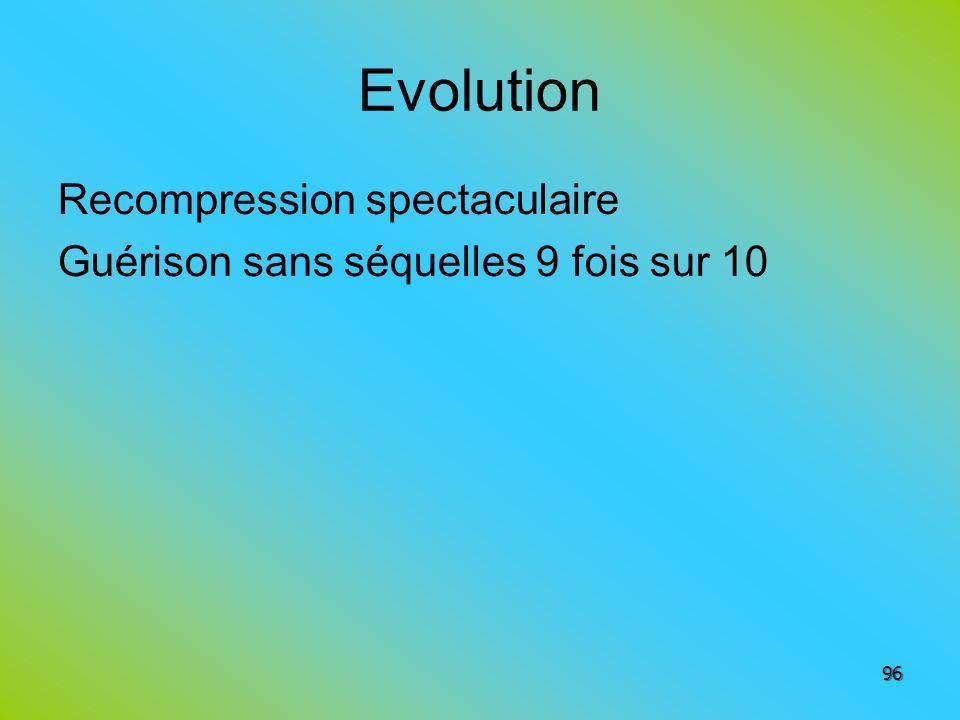 Evolution Recompression spectaculaire Guérison sans séquelles 9 fois sur 10 96