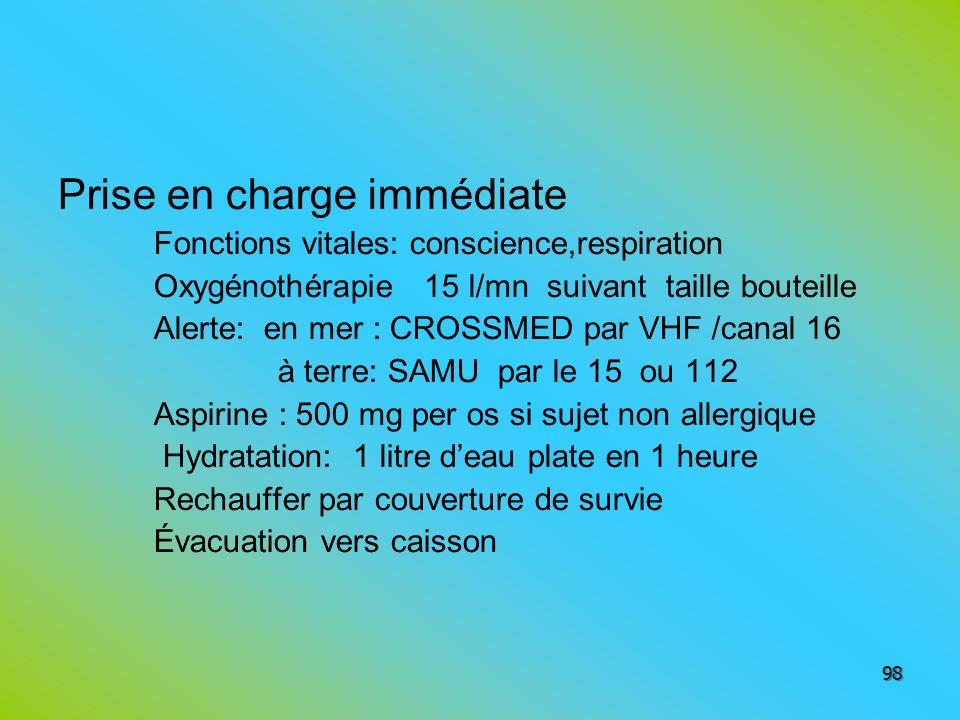 Prise en charge immédiate Fonctions vitales: conscience,respiration Oxygénothérapie 15 l/mn suivant taille bouteille Alerte: en mer : CROSSMED par VHF