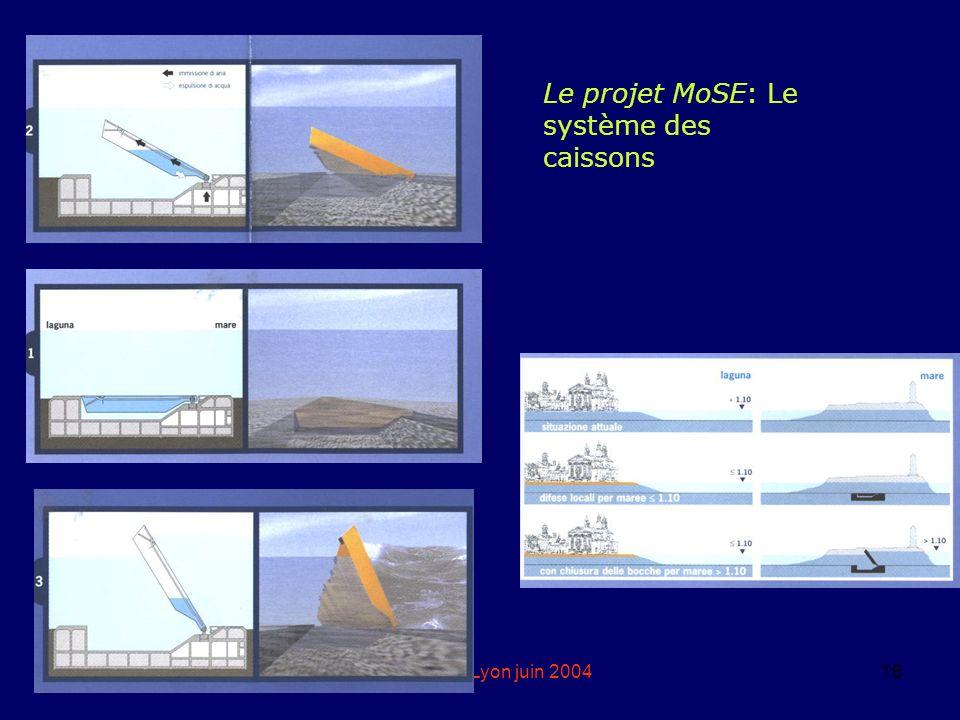 eddyburg.it, Lyon juin 200416 Le projet MoSE: Le système des caissons