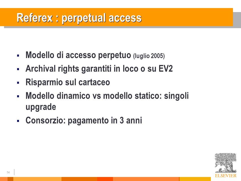 14 Referex : perpetual access Modello di accesso perpetuo (luglio 2005) Archival rights garantiti in loco o su EV2 Risparmio sul cartaceo Modello dinamico vs modello statico: singoli upgrade Consorzio: pagamento in 3 anni