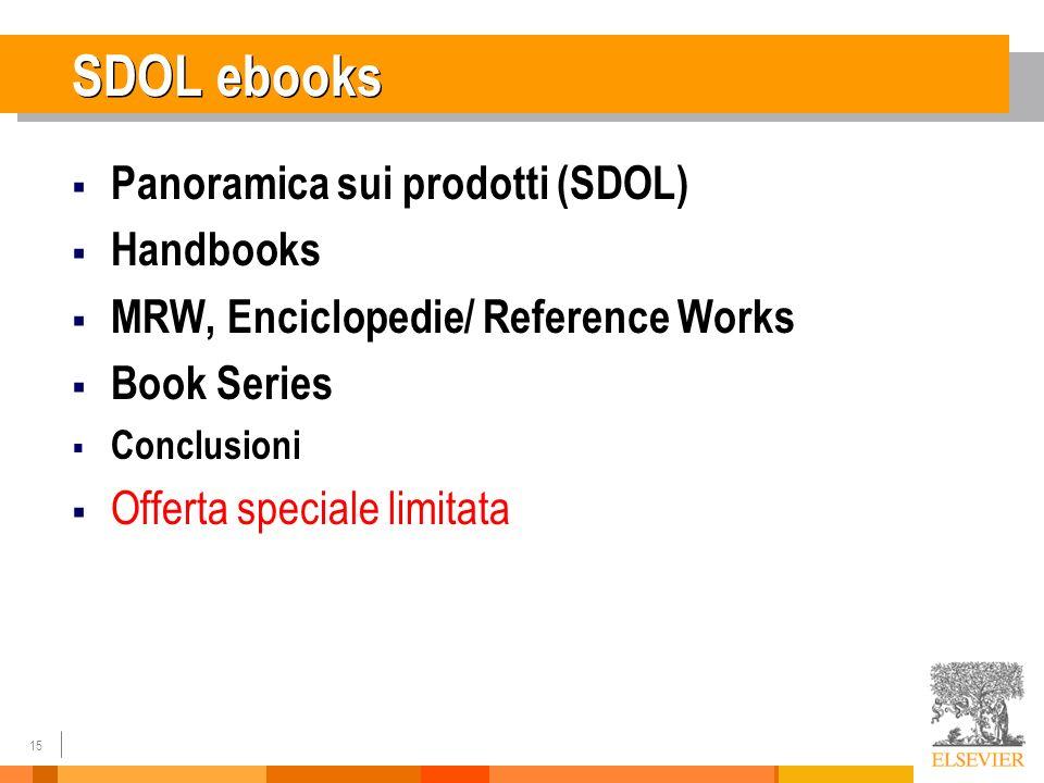 15 SDOL ebooks Panoramica sui prodotti (SDOL) Handbooks MRW, Enciclopedie/ Reference Works Book Series Conclusioni Offerta speciale limitata