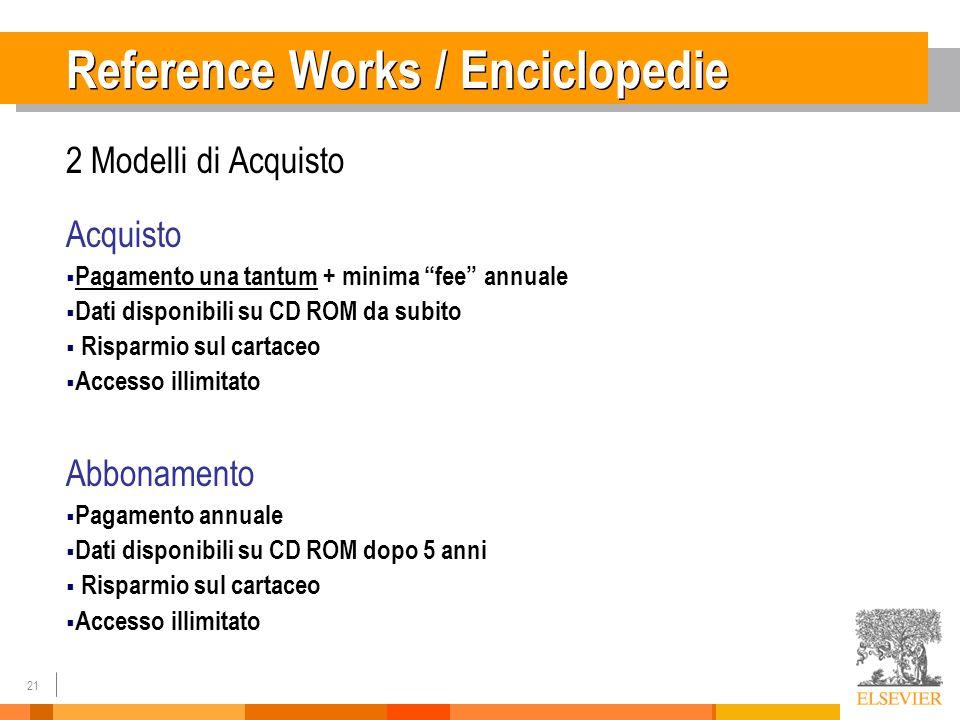21 Reference Works / Enciclopedie 2 Modelli di Acquisto Acquisto Pagamento una tantum + minima fee annuale Dati disponibili su CD ROM da subito Rispar