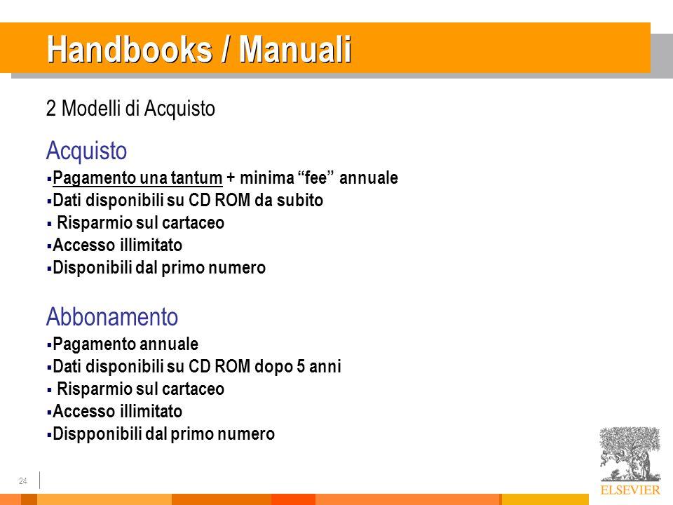 24 Handbooks / Manuali 2 Modelli di Acquisto Acquisto Pagamento una tantum + minima fee annuale Dati disponibili su CD ROM da subito Risparmio sul car